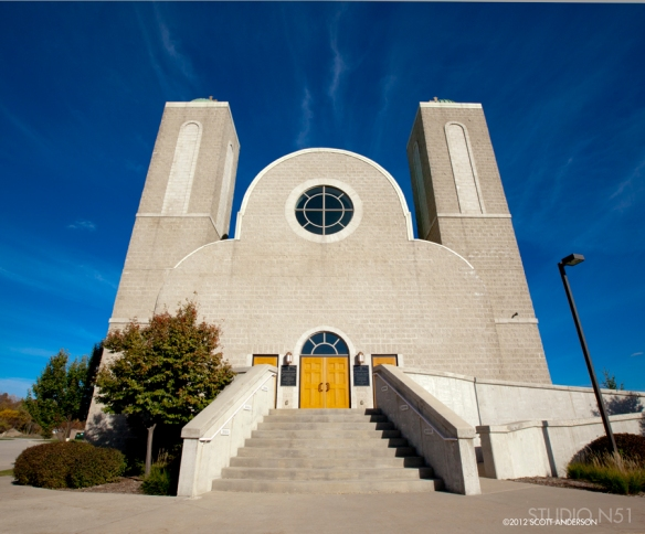 Front view church architectural photograph
