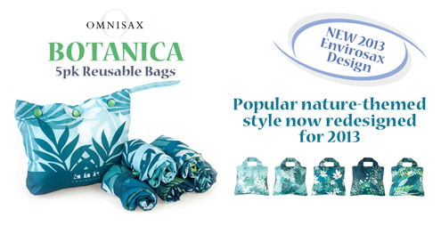 Rotator image for the new Omnisax Reusable bag line from Bright and Bold